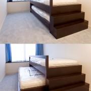子供部屋の2段収納式のベッドは特注設計