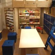回転する棚に、隠しスペースから取り出した工作台