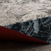 HokusaiManga W600×D600×H150  北斎漫画を重ねて構成した図柄は、よく見ると水浴びをする人やタンポポ、小鳥などを見つけることができる