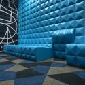 6F休憩室のウォールファニチャーシステムは、マグネットで自在にレイアウト変更ができる(制作はsixinch JAPAN)